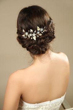 Gold Leaf bridal hair vine wedding  hair accessories by Hinuma