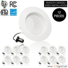 (12 Pack)- 5/6 inch Dimmable LED Downlight, 15W (120W Replacement),EASY INSTALLATION, Retrofit LED Recessed Lighting Fixture, 3000K (Soft White), 1100 Lm, ENERGY STAR, LED Ceiling Down Light * Want additional info? Click on the image.