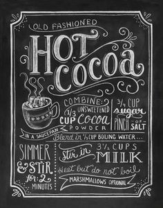 Hot Cocoa Chalkboard Art Print | Warm yourself (and your walls) right up with this Hot Cocoa ch... | Printmaking