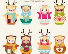 Matryoshka Animal version SET (6 inch) Clip Art