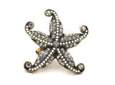 Winter White Rhinestones and Crystals Starfish Stretch Cocktail Ring