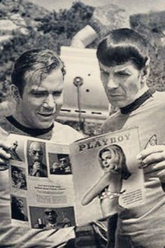 From STAR TREK . Investigating a strange , yet interesting Magazine called PLAYBOY they found on Planet Earth . Logical Shatner is literally Kirk here and Lenny is literally Spock here Nave Enterprise, Star Trek Enterprise, Star Trek Original Series, Star Trek Series, Photo Voyage, Star Trek Images, Star Trek Tv, Paddy Kelly, Star Trek Characters