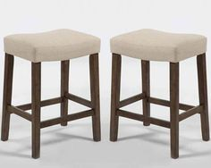 """$118 Set of 2 Comfort Verona Saddle 24""""H Counter Stools Chairs Ivory Linen Seat Wood #3perfectchoice #Contemporary"""