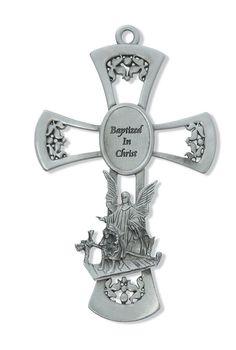 "6"" Pewter Guardian Angel Baptism Wall Cross"
