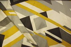 Diagonal block and squares stripe fabric in dijon yellow and grey shades