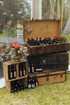South African Wedding:  Rustic vintage suitcases and crates with drinks // Succulent Garden Wedding // Claire Thomson Photography
