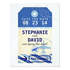 "Luggage Tag Vintage Destination Wedding Save Date 4.25"" X 5.5"" Invitation Card"