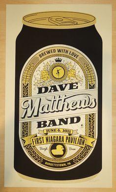 "Dave Matthews Band - silkscreen concert poster (click image for more detail) Artist: Methane Studios Venue: First Niagara Pavilion Location: Burgettstown, PA Concert Date: 6/6/2015 Size: 14"" x 24"" Edi"