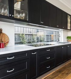 Modern Kitchens, Farm House, Kitchen Cabinets, Windows, Bathroom, Home Decor, Washroom, Decoration Home, Room Decor