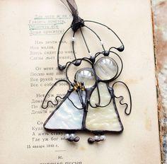 Элементы интерьера ручной работы. Ярмарка Мастеров - ручная работа ангелы пара витраж с зонтиком. Handmade.