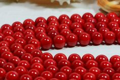 Coral Red Coral Beads 8mm Coral Beads Gemstone Beads Jewelry Supplies (8.00 USD) by Dwaynescabochons