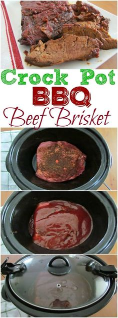 Crock Pot BBQ Beef Brisket recipe from The Country Cook. Homemade bbq rub and…