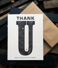 Thank you card   letterpress cards  by BIMPRESSED by BIMPRESSED, $5.00