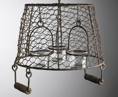 Another great find on Hanging Basket Chandelier Candle Holder by Save On Crafts Diy Rustic Decor, Rustic Design, Farmhouse Decor, Farmhouse Plans, Cheap Lanterns, Candle Lanterns, Hanging Baskets, Hanging Chair, Wire Baskets