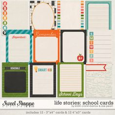 Sweet Shoppe Designs :: Project Everyday :: Life Stories: School Cards by Kristin Cronin-Barrow & Zoe Pearn