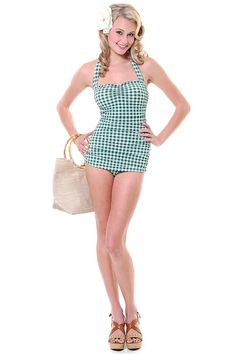 All of these styles are about $75 but so cute! Vintage Inspired Swimsuit 50's Green & White Print Gingham Bathing Suit - Unique Vintage - Prom dresses, retro dresses, retro swimsuits.
