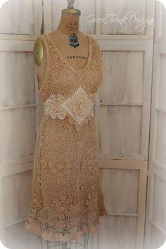 Crochet Dress  Boho Country Chic Wedding by GreenTrunkDesigns, $95.00