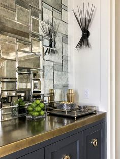 Mercer Island Dry Bar with Brass Countertop and Mosaic Mirror Tile Backsplash Butler's Pantry Bar Breakfast Room Eclectic Transitional by LeeAnn Baker Interiors Ltd Mirror Backsplash Kitchen, Mirror Tiles, Kitchen Tiles, Bar Mirrors, Mosaic Mirrors, Mosaic Wall, Bar Countertops, Bar Tile, Home Bar Designs