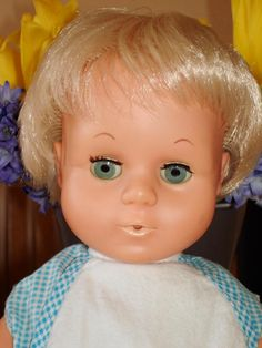 Tiny Tears doll (1960s).  Tiny was manufactured by the 'American Character Doll Company' and was introduced in 1950.
