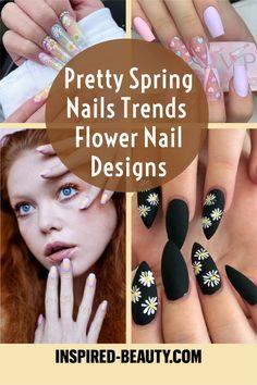 cute spring nails Cute Spring Nails, Cute Nails, Flower Nail Designs, Nail Art Designs, Spring Nail Trends, Flower Nails, Nail Art Galleries, Nail Ideas, Pretty