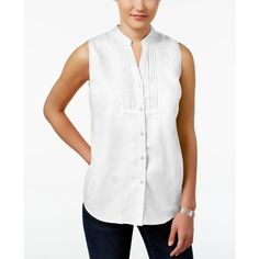 a532f1475a7a0 Charter Club Petite Linen Sleeveless Shirt