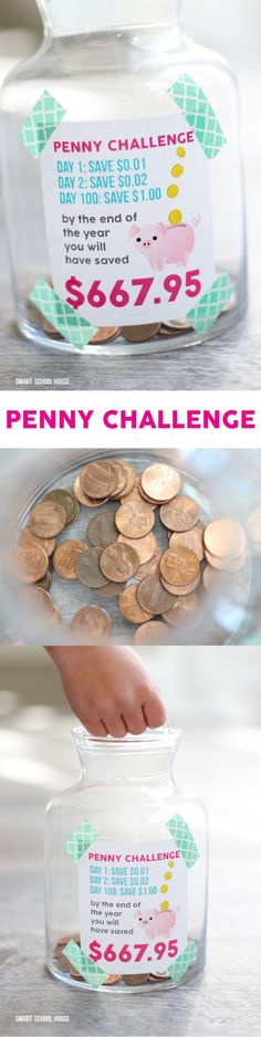 Take the penny challenge with your kids. Begin January 1 or any day of the year, collect pennies, and after 365 days, you'll have saved almost $700!