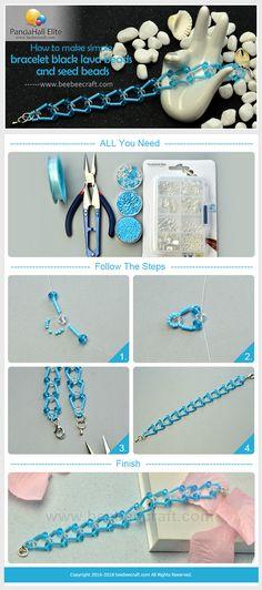 #DIY blue #bracelet with #Beebeecraft #seedbeads and #glassbeads