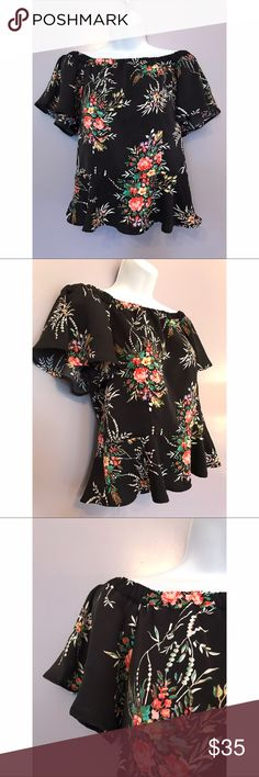 {Nanette Nanette Lepore} Off-The-Shoulder Blouse This will turn heads this summer! Floral off-the-shoulder top with flutter sleeve and flounce bottom. Nanette Lepore Tops