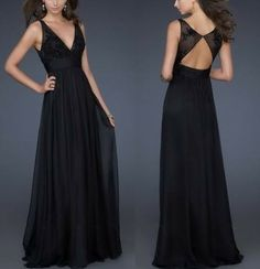 Sexy Black V-neck A-line Bridesmaid Chiffon Floor long Dress Prom/Homecoming/Formal Evening/Cocktail/Pageant Backless dress