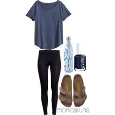 A fashion look from March 2016 featuring H&M t-shirts, H&M leggings and Birkenstock sandals. Browse and shop related looks.