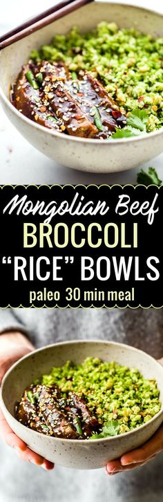"""These Paleo Mongolian Beef  Broccoli """"Rice"""" bowls recipes are easy to make in just 30 to 40 minutes, light, and full of garlic and ginger flavors! A SAUCY Asian inspired homemade take out dish for you and your family to enjoy!  Gluten free and veggie pack"""