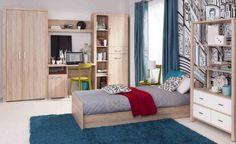 Pokój młodzieżowy DAMIS, dąb sonoma  Wyraziste uchwyty, szeroka listwa blatu oraz dodatkowa komoda, szafa i biurko to wyróżniki małej, ale bardzo funkcjonalnej kolekcji. Dzięki możliwości swobodnego ustawiania poszczególnych elementów kolekcji możemy aranżować ściany o zróżnicowanej szerokości.  #meble #dom #wnetrza #wystrój #mieszkanie