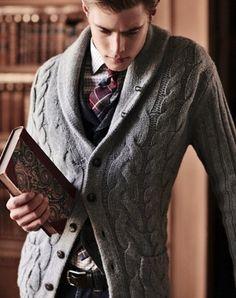 cardigan + book