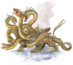 Dungeons and Dragons (D&D) Fifth Edition Monster - Hydra - The hydra is a reptilian horror with a crocodilian body and multiple heads on long, serp. Mythical Creatures Art, Fantasy Creatures, Magical Creatures, Hydra Mythology, Greek Mythology, Hydra Monster, Mythological Animals, Snake Art, Legends And Myths