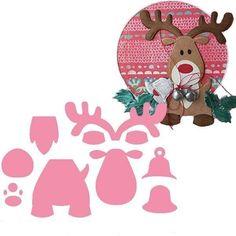Collectables, fustelle per tagliare e embossare carta, feltro, pannolenci, riproduce una renna, con timbro