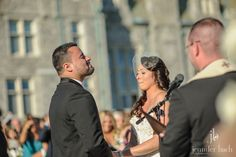 A touching moment at a ceremony at the Branford House wedding