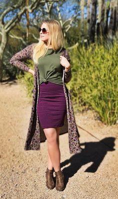 LuLaRoe Fall Outfit, green LuLaRoe Gracie, purple LuLaRoe Cassie skirt and a floral LuLaRoe Sarah