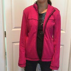 Super cute Jones New York jacket Size petite medium light sweater knit jacket  in 100% cotton fabric.  Magenta in color . New with tags Jones New York Jackets & Coats Utility Jackets