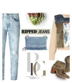 """""""Ripped Jeans"""" by mada-malureanu ❤ liked on Polyvore featuring Monsoon, Current/Elliott, Infanonymous, Burberry and rippedjeans"""