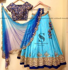 Beautiful powder blue color designer lehenga and blue color designer blouse with floret lata design hand embroidery thread work. Kids Lehenga Choli, Half Saree Lehenga, Lehenga Gown, Lehnga Dress, Bridal Lehenga, Half Saree Designs, Blouse Designs Silk, Lehenga Designs, Indian Dresses