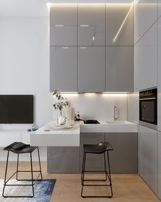 modern kitchen design Just the perfect small corner kitchen - contains lots of storage without loosing its light and airy look - Small Modern Kitchens, Modern Kitchen Interiors, Modern Kitchen Design, Interior Design Kitchen, Home Kitchens, Apartment Kitchen, Apartment Interior, Home Interior, Modern Interior