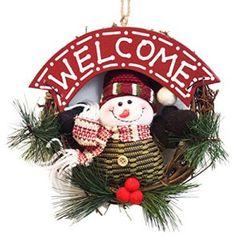 EOZY 1pc Couronne De Noël Décoration Suspendu De Noël Avec Poupée Pour Porte Maison Bonhomme De Neige