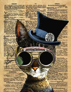 Clockwork Kitty Steampunk Cat Art Print by Collageorama | Society6