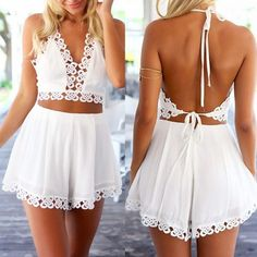 Love the trim on this playsuit, with the halterneck