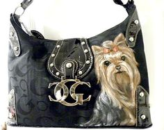 Hand Painted Yorkie Custom Handbag Purse by sugarspiceArt on Etsy,  64.99  Painted Bags, Yorkies cb9a70d669