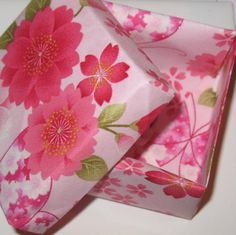 Origami Gift Box - Pink Cherry Blossom Print Fabric Origami Box by ColieArtBooksnBoxes on Etsy https://www.etsy.com/listing/288112459/origami-gift-box-pink-cherry-blossom