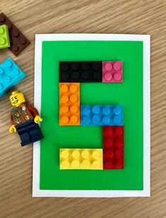 Lego birthday card for a five year old / Lego onnittelukortti Lego Birthday Cards