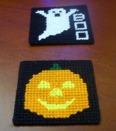 plastic canvas and yarn - plastic canvas Halloween Coasters