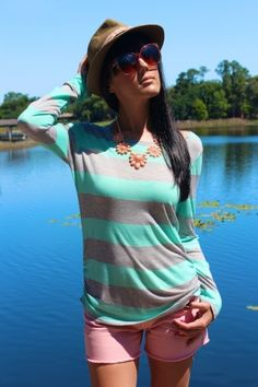 Mint & Grey Striped Summer Shirt ... additional 30% OFF now online at www.sophieandtrey.com CODE: SALE30 #30percentoff #sales #sale #shopping #sophieandtrey #onlineshopping