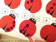 Fingerprint Counting Printables for Kids - celebrate Spring with this fun caterpillar and lady math activity!